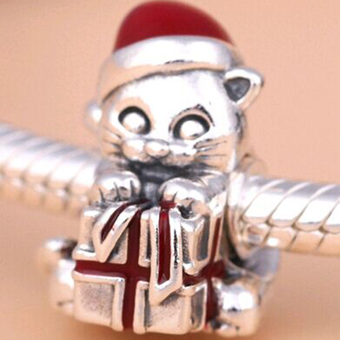 Beads silver 925 wholesale cheap beads style Christmas Kitten charms beads manufacturers in china