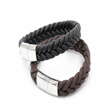 Men Fashion Jewelry Genuine Leather Bangle,Magnetic Stainless Steel Leather Bracelet