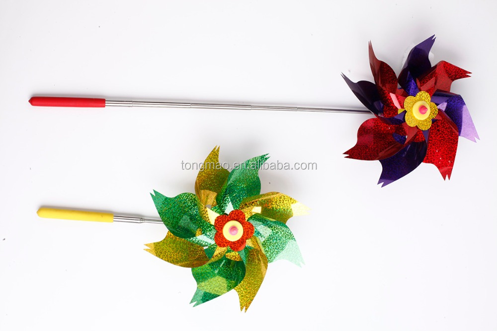 Whosale, factory direct price,children's gift!!! colorful adjustable handheld windmill with PVC flower