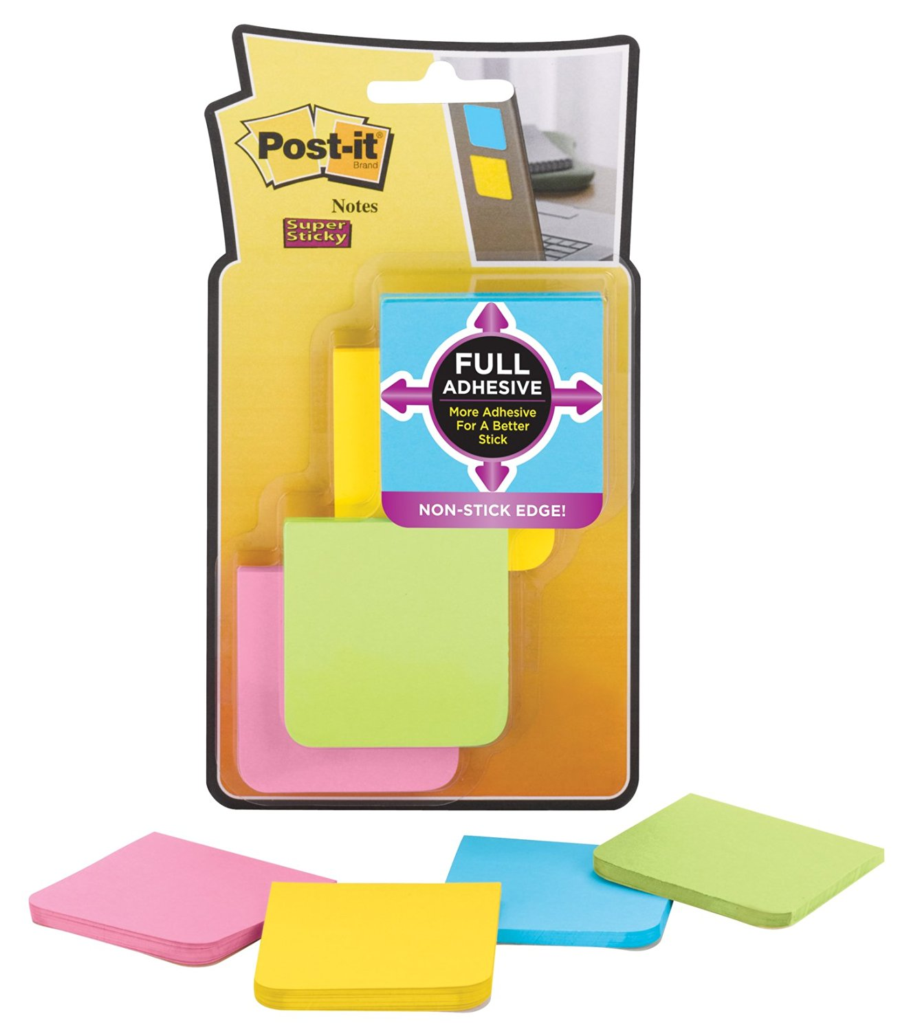 "Wholesale CASE of 25 - 3M Post-it Super Sticky Full Adhesive Notes-Super Sticky Notes, Full Adhesive, 2""x2"", 8/PK, Assorted"