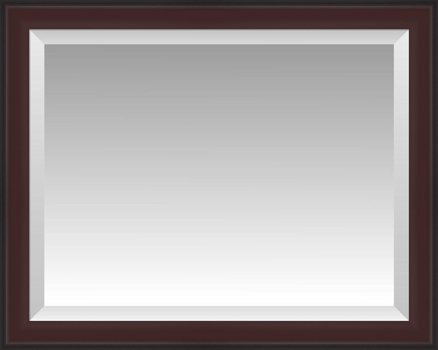 Formal Dark Cherry with Black Outer Edge Beveled Wall Mirror, Size 33.5 X 27.5