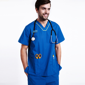 Men Natural Uniforms Medical Hospital Nursing Scrub Set Top & Pants