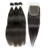 Natural color silky straight hair bundles with closure virgin Indian human hair extension