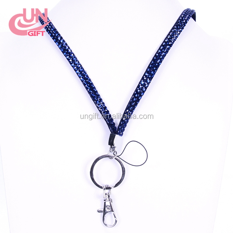 Bling bling beaded crystal cheap rhinestone lanyards with key ring