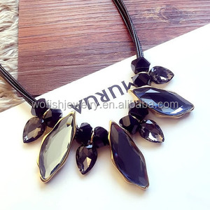 Statement Choker Necklace Crystal Leaves Leather Rope Necklace
