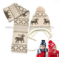 Custom logo vintage fashion deer pattern kids cute baby woven scarf knitted hat with earflap