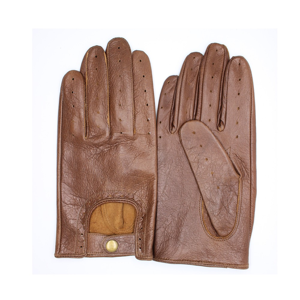 New style men's driving two tone leather gloves with buckle details