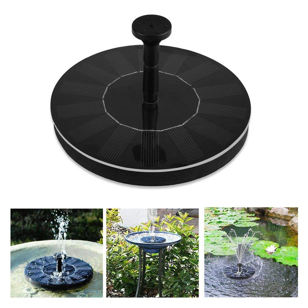 Fashionwu Solar Fountain Pump Outdoor Floating Water Fountain Submersible Pump Free Standing Water Pumps with 1.4W Solar Panel for Garden Pool Pond Patio