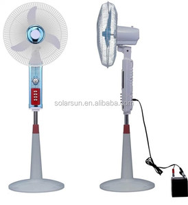 Factory price DC 12V Solar Rechargeable Fan with LED Light battery 15W Solar Panel