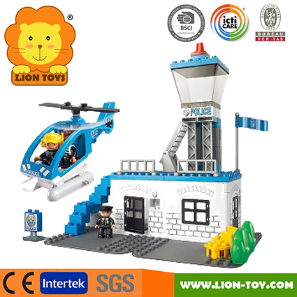 Large toy blocks compatible with Duplo plastic toy bricks Police station