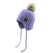 Most Popular Kids Knitted Pompom Hat Children Winter Hat With String For Boys And Girls