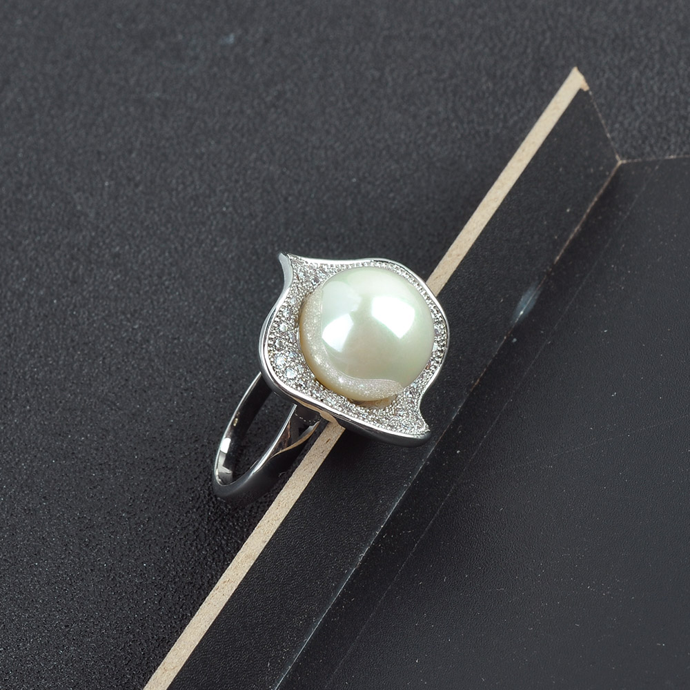 Wholesale Fashion Diamond Finger Ring Solid Pearl Ring Mountings
