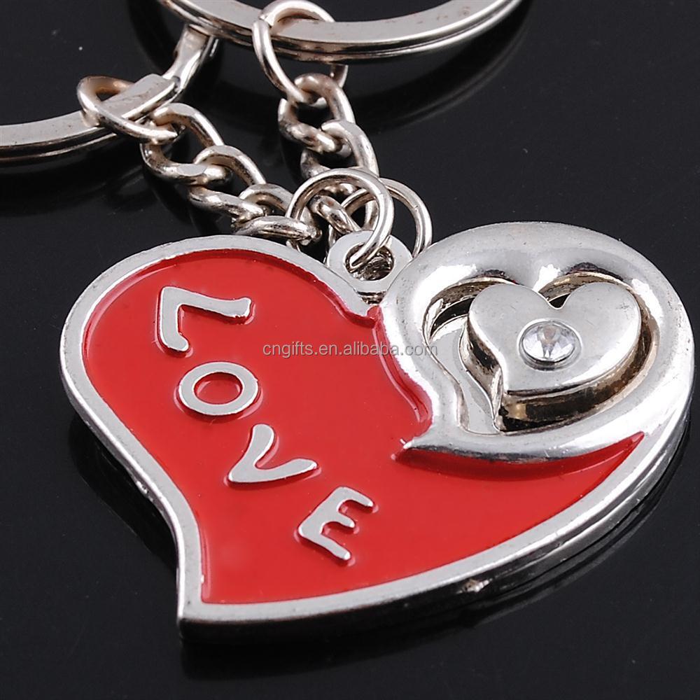 Wholesale Unique heart love zinc alloy metal paired key chain ...