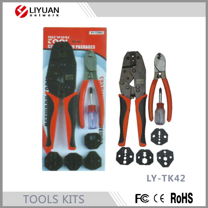 LY-TK42 Series modular head crimping tools with 5 heads selectable tool KIT