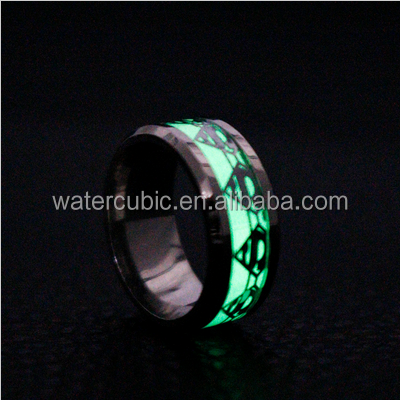 Fashion Luminous Ring Glow In The Dark Batman Superman Green Background Skeleton Rings Fluorescent Glowing Ring Size 6-14