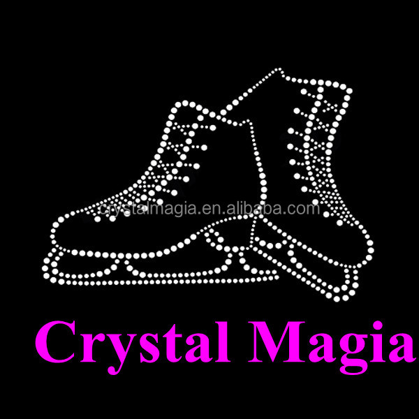 2016 new crystal ice skate rhinestone transfers iron on dancing dress motif