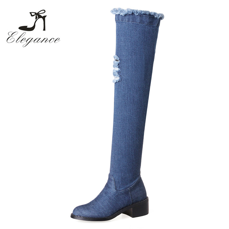 2017 New Design Fashion Women Shoes Blue Thigh High Chunky Heel Boots Denim