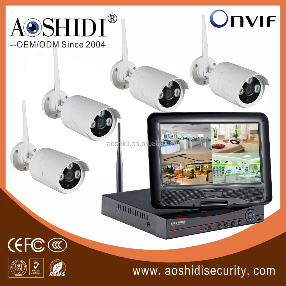 Home security wireless 4 ch camera set 1.0MP with 10 inch panel