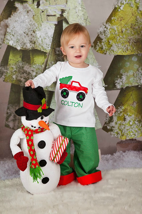 2017 Baby Boys Christmas Outfits Appliqued Cotton Shirt And Kids ...
