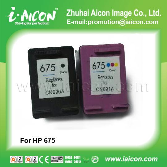 For Hp 675 Cn690a Black,Cn691 Color Remanufactured Ink Cartridge ...
