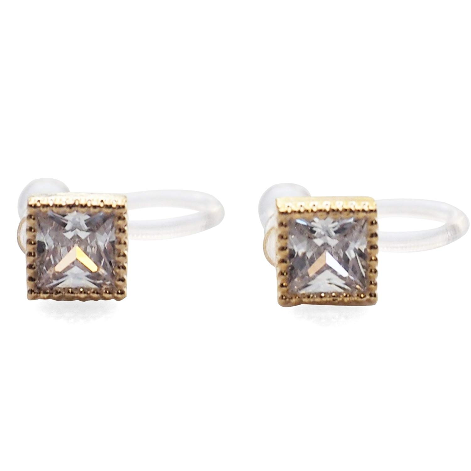 Miyabi Grace Women's Square Minimalist Comfortable Simple Cubic Zirconia Crystal Invisible Clip On Stud Earrings Gold tone