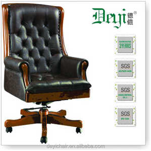 wood base medium back commercial chair 671-B medium back manager executive chair with wood armrest
