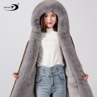 2019 new fashion luxury factory direct super large fur collar and threshold cheap price fox fur woman parka