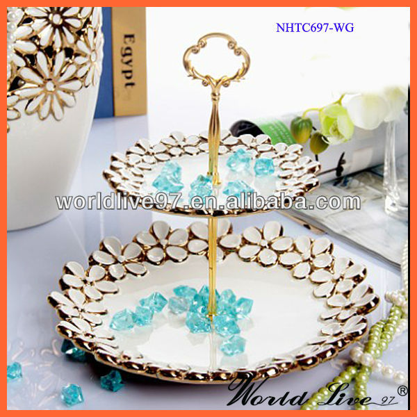 Gold Plated Cake chocolate Display Decoration Home Accessories for Home Decorating