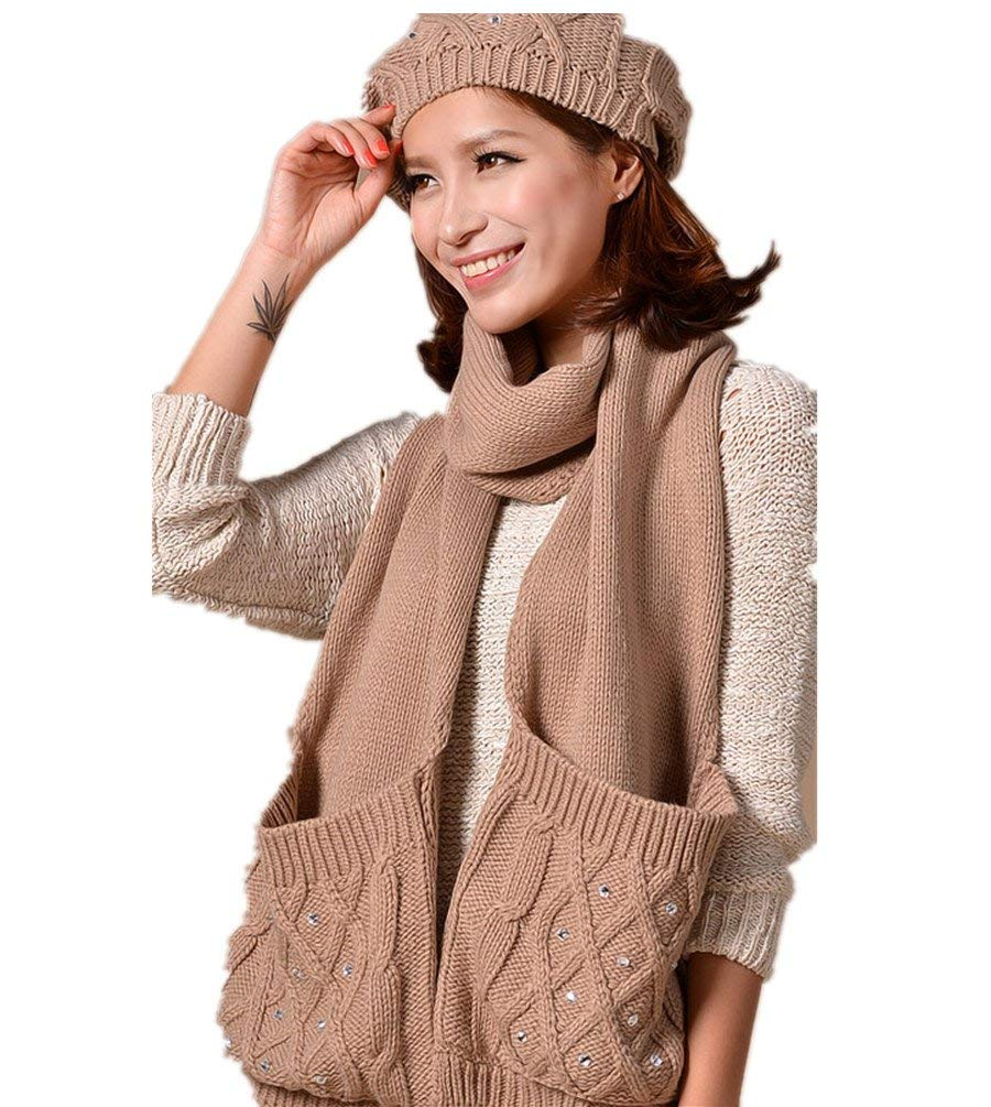 743deb5c453 Get Quotations · Winter fashion warm Faux Fur inserted velvet Hoodie  Knitted Hat Scarf Set Long Hat