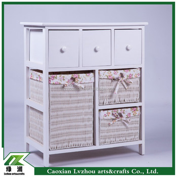 solid wood storage cabinet with wicker drawers/small cabinet