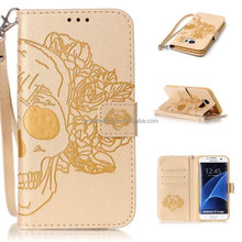 Multi-functional skull pattern leather mobile phone case bag for samsung s7 edge