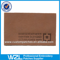 Wholesale brown embossed clothing leather patches, PU leather jeans label patches