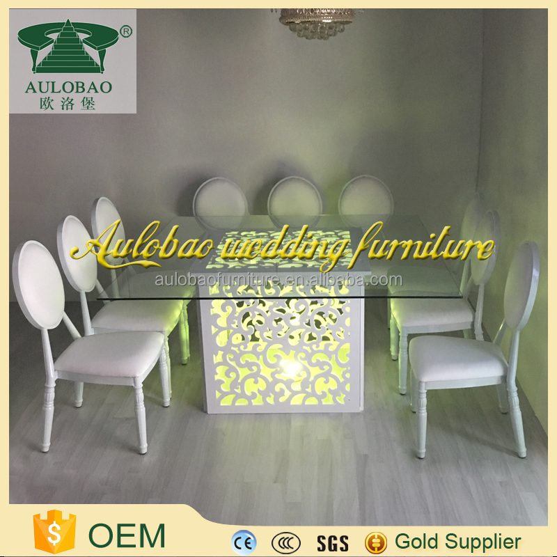 Glowing furniture glowing led glass wooden banquet led light dining table