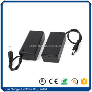 9V battery holder/9V battery box/9V battery case with DC plug Wire Leads, Cover and Switch