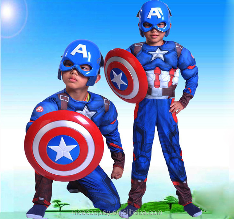 Full Set Captain America Movie Siamese Clothes Costume kids' Halloween Cosplay Cartoon Space Suit Wholesale