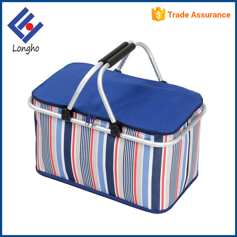 2017 New fashion tote stripe folding lunch bag aluminum alloy frame collapsible insulated picnic basket cooler bag