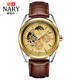NARY 18003 P automatic Self-Wind Mechanical Men Watch 3ATM Waterproof Sapphire Leather Men's Business Wrist watch
