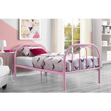 Twin Bed Frame Pink Bedroom Platform Metal Headboard Girls Room Kids Furniture