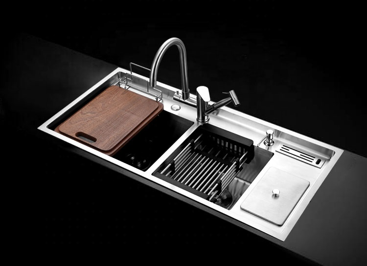 Philippines Difference Type Import SUS 304 Deep Handmade Stainless Steel Kitchen Sink With Drainboard