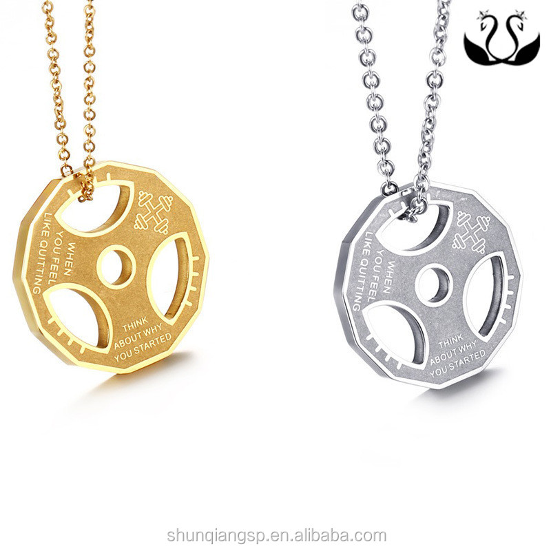 Popular Fitness Engraved Stainless Steel Dumbbells Couple Pendant for Love