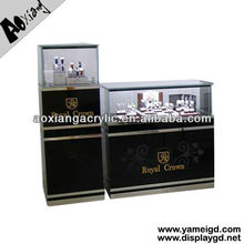 2013 OEM Free style wooden glass acrylic counter rack cabinet design