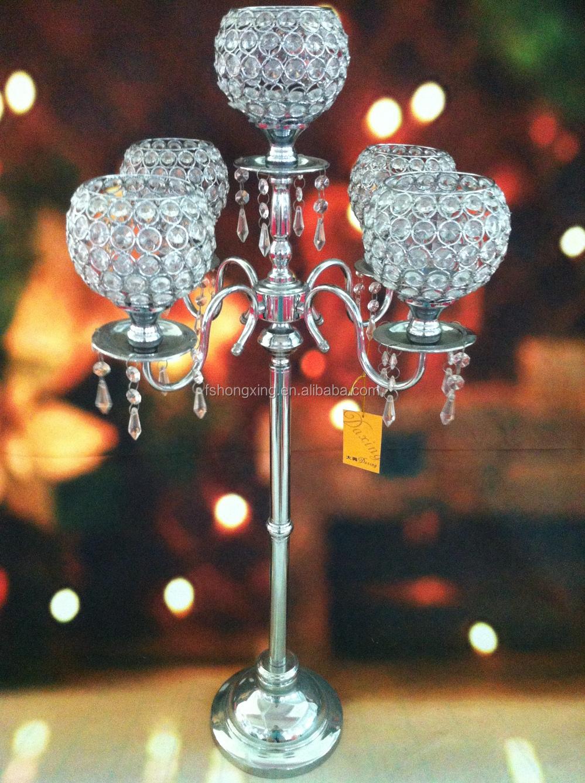 5arms Tall Wedding Crystal Globe Candelabra Centerpiece