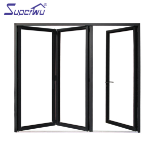 Black color corner vertical aluminum interior fiber glass bifold stacking doors