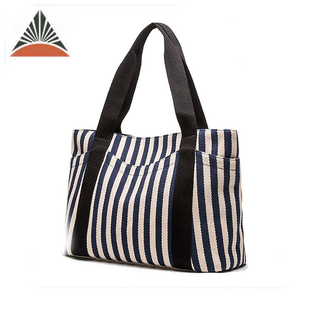 Wholesale Fashion Ladies Canvas Beach Tote Bag With Zipper And Outer Pockets