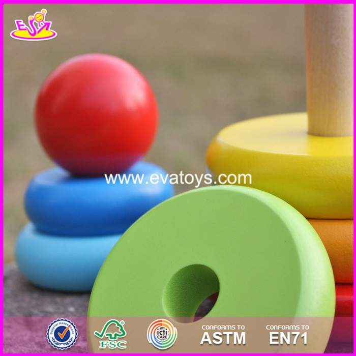 2017 new design colorful rainbow town kids wooden stacking rings toy W13D136
