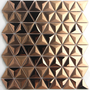 3D Triangle Diamond Shape Stainless Steel Brushed Glossy Gold Mosaic Metal Wall Tiles