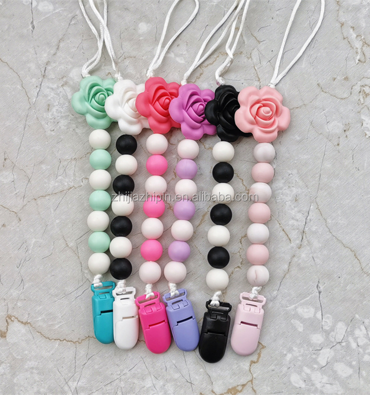 Silicone Wood Teething Pacifier Clips Chain  Nipples Baby Chew Toys Dummy Clip