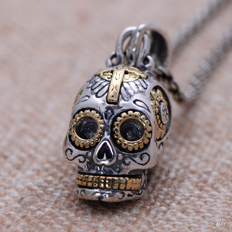 silver biker jewelry <strong>pendant</strong>, 925 sterling silver vintage skull <strong>pendant</strong> factory direct wholesale