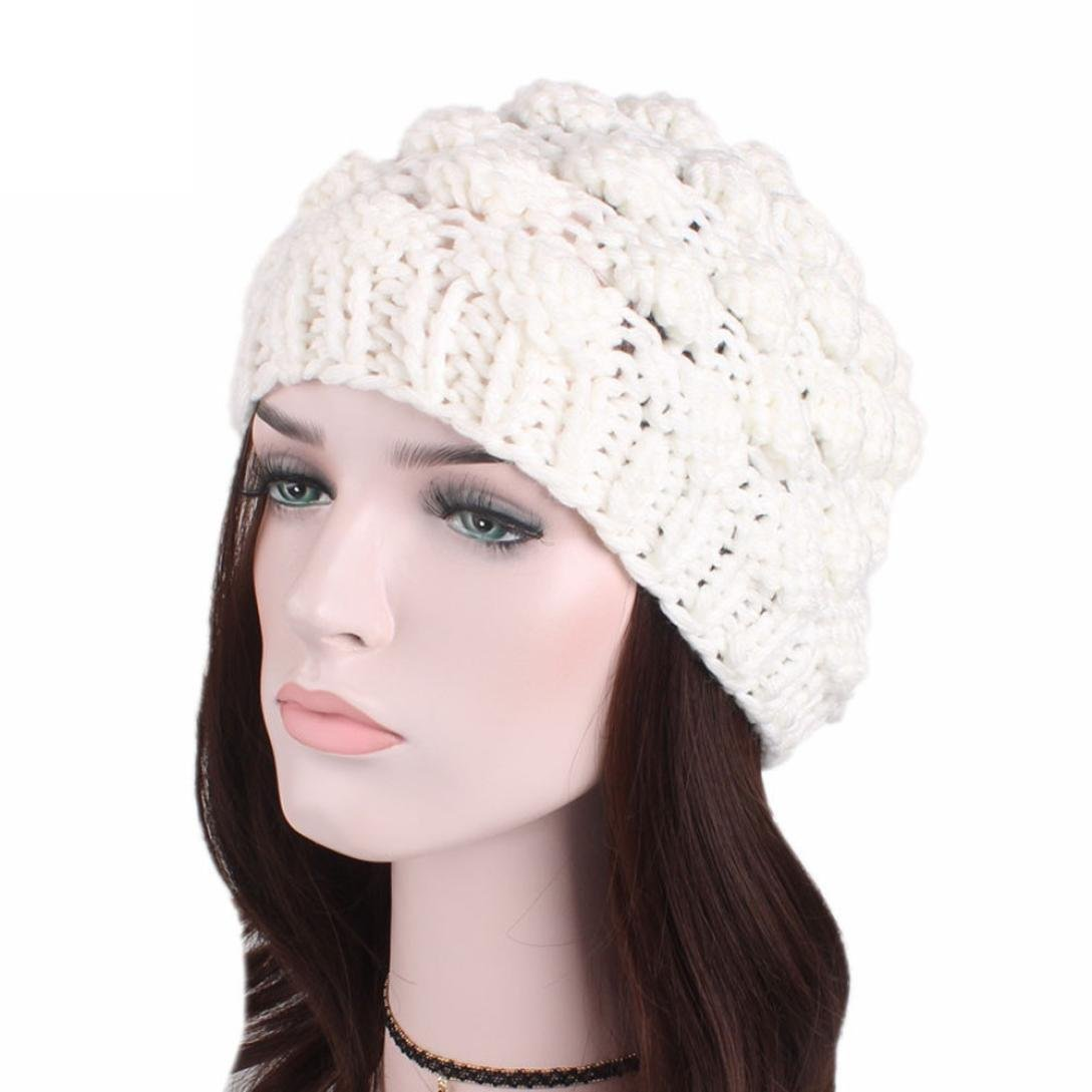 Get Quotations · SUKEQ Women Slouchy Knit Wool Hat Turban Pineapple Beanie  Hat Pile Cap ba63d0ad027c