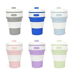 Cunite new design custom portable eco-friendly reusable silicone collapsible foldable coffee cup